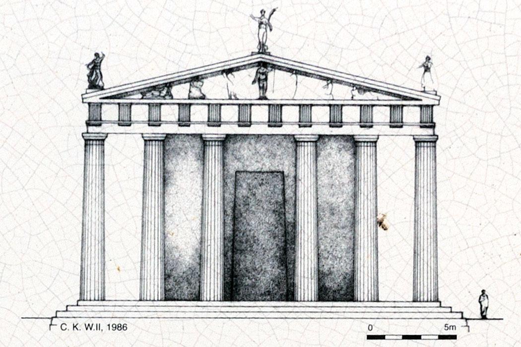 korinth tempel der octavia rekonstruktion peloponnes griechenland Die Rekonstruktionszeichnung zeigt den römischen Tempel der Octavia in Korinth.