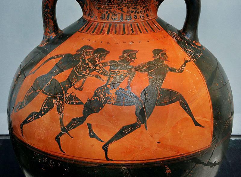 Greek vase runners panathenaic games 530bC-1 Diese griechische Vase zeigt den antiken Stadionlauf bei den Panathenäischen Spielen. Datierung ca. 530 v. Chr.