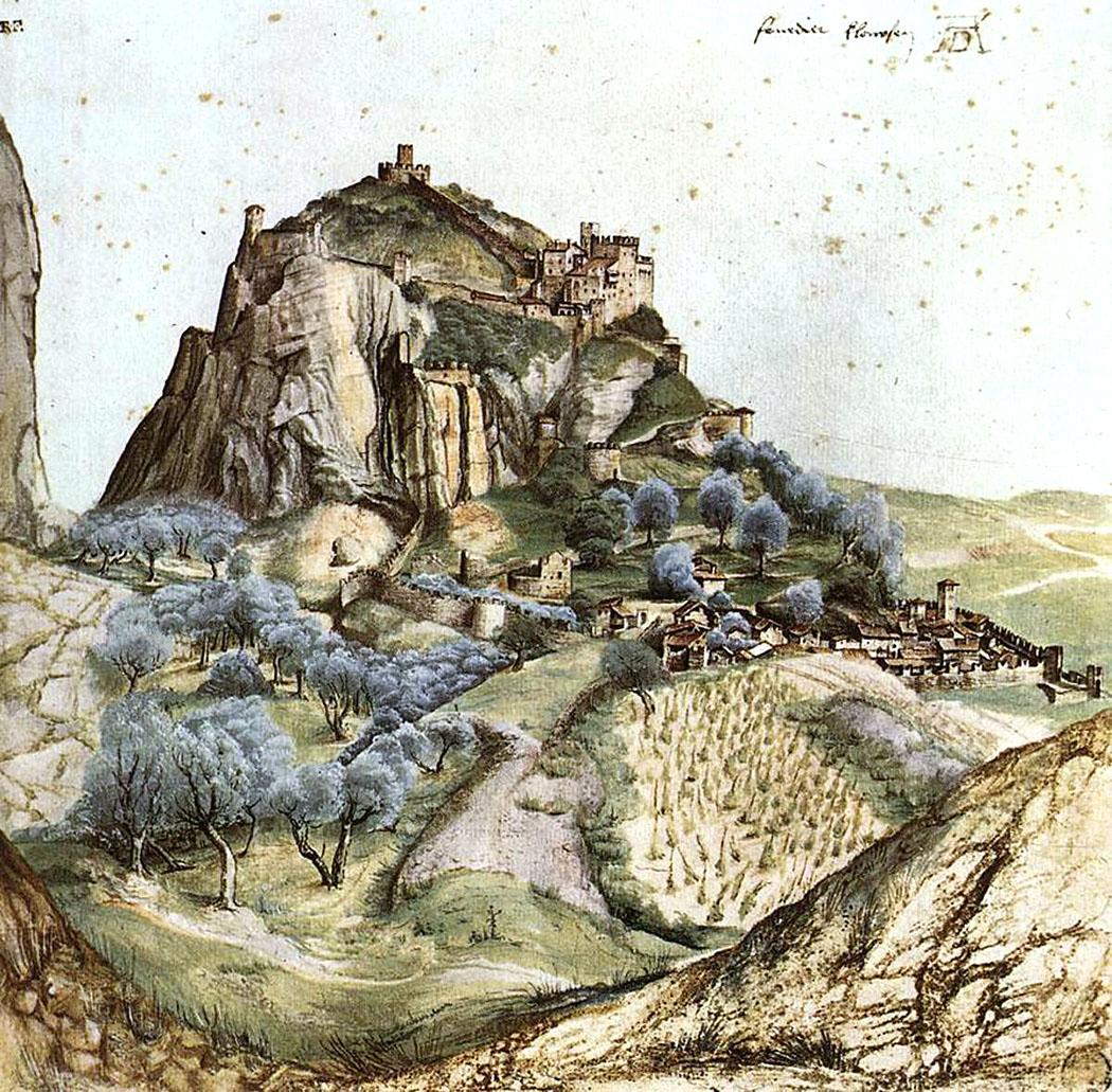 garda trentino albrecht duerer aquarell arco 1495 gardasee italien Das Aquarell von Albrecht Dürer entstand 1495 und zeigt Arco mit seiner Burg. Foto: Wikipedia.