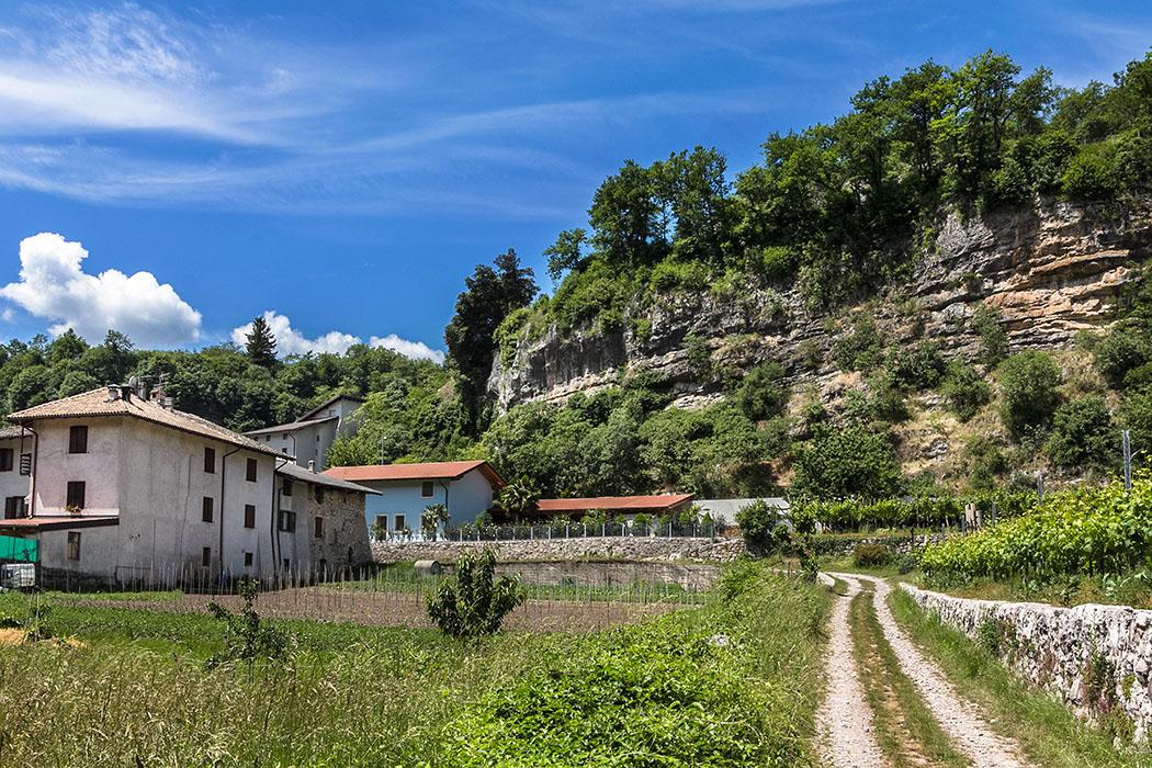 Wir das Dorf Cavedine und erreichen einen breiten Feldweg, der an Feldern und Weingärten vorbei führt.