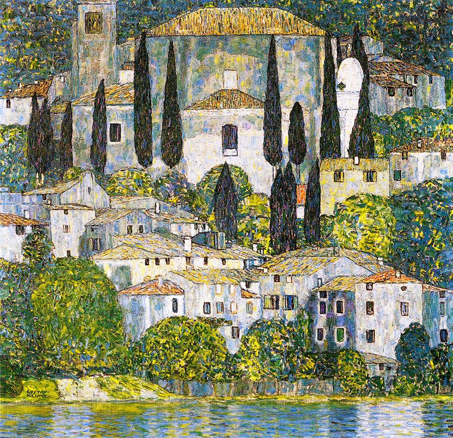 Gustav Klimt - Kirche in Cassone - 1913 - ol Gustav Klimt, Kirche in Cassone, Landschaft mit Zypressen. Öl auf Leinwand, 1913, Privatsammlung. Foto: Wikipedia