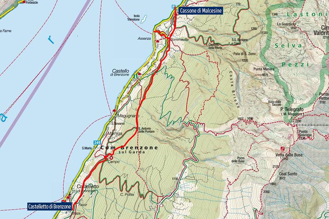 Gardasee: Cassone di Malcesine - Ruhig und ursprünglich wanderung cassone nach castelletto Die Karte zeigt den Wegverlauf von Cassone di Malcesine nach Castelletto di Brenzone. Karte: www.kompass.de