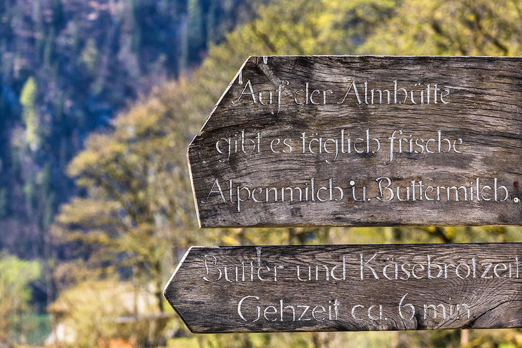 """Oberbayern: Königssee - Von Salet zur Fischunkelalm am Obersee - Deutschland, Oberbayern, Nationalpark Berchtesgaden, Koenigssee, Saletalm, Enten, Salet, Schild, Brotzeit, April 2017 - Wegweiser zur urigen Salet-Alm. Diese ist nur einen kurzen Spaziergang von der Alpengaststätte """"Saletalm"""" entfernt."""