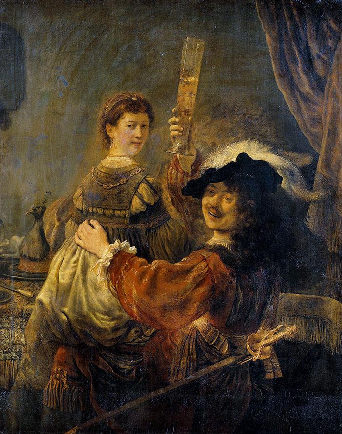 Zitate aus der Antike: Carpe diem – Pflücke den Tag - Rembrandt_-_Rembrandt_and_Saskia - Rembrandt - Selbstbildnis mit Saskia, Öl auf Leinwand, Gemäldegalerie Alte Meister in Dresden. Foto: Wikipedia
