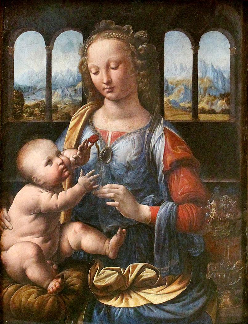Leonardo_da_Vinci_Madonna_of_the_Carnation_01 - Leonardo da Vinci: Die Madonna mit der Nelke. Das Frühwerk in der Frührenaissance entstand zwischen 1473 und 1478 und ist seit 1889 in der Alten Pinakothek in München.