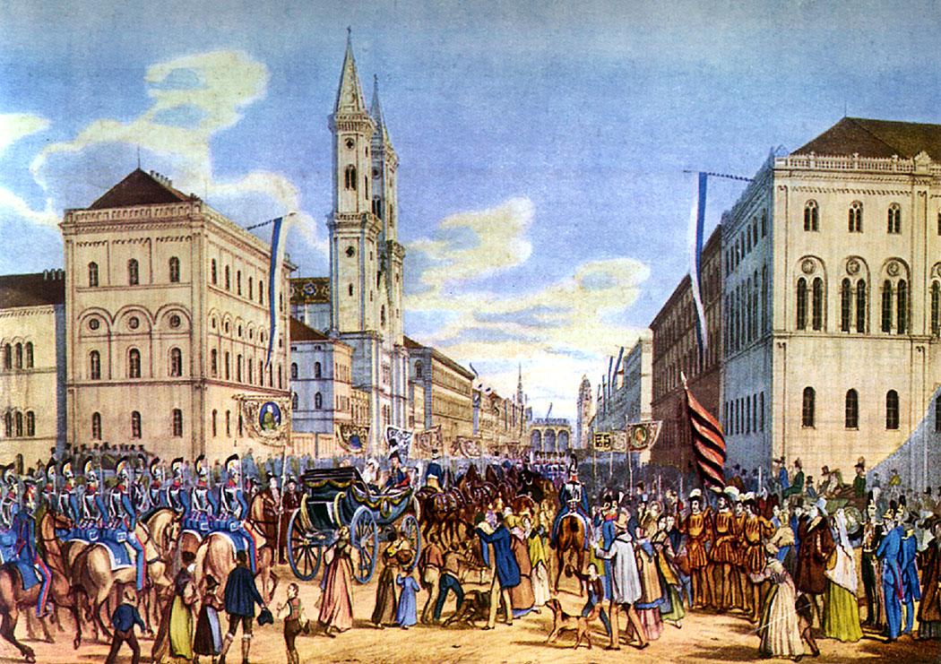 muenchen_ludwigstraße_1842_marievonpreussen - Die Ludwigstraße beim Einzug von Prinzessin Marie von Preußen am 11. Oktober 1842 in die Residenz. Einen Tag später heiratete sie in der Allerheiligen Hofkirche Kronprinz Maximilian, der 1848 als Maximilian II. Joseph, König von Bayern wurde.