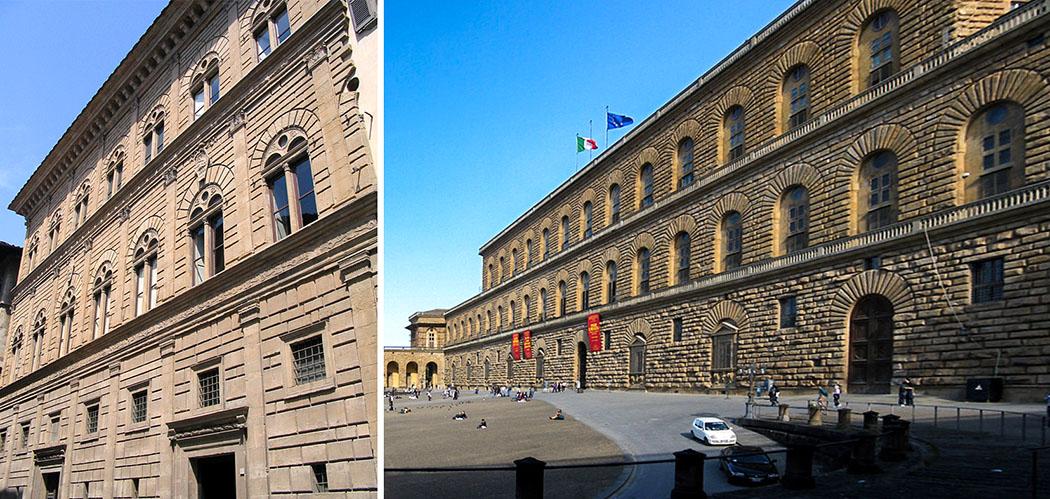 palazzo rucellai_palazzo pitti_ol Elemente dieser Renaissance-Paläste in Florenz haben die Architektur des Königsbaus in München inspiriert: Palazzo Rucellai, erbaut ab 1446 (links) und Palazzo Pitti, erbaut ab 1458. Fotos: Wikipedia