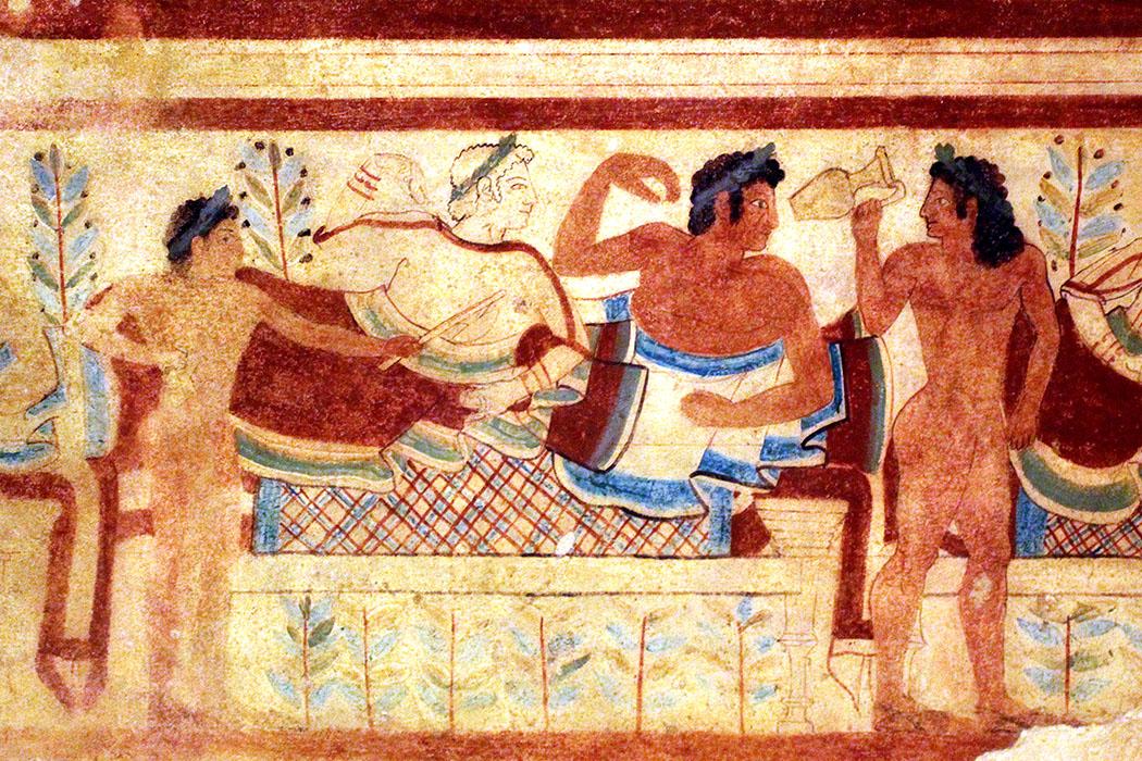 tarquinia_tombadeileopardi_nekropole_reisezikaden.de - Tarquinia: Die Fresken der Tomba dei Leopardi stammen aus dem 5. Jhd. v. Chr.