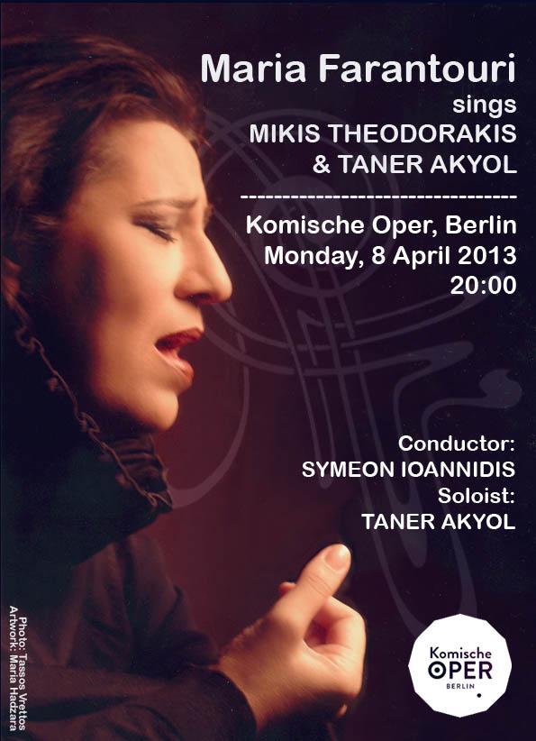 """Maria Farantouri singt Mikis Theodorakis und Taner Akyol"" Komischen Oper Berlin 2013"