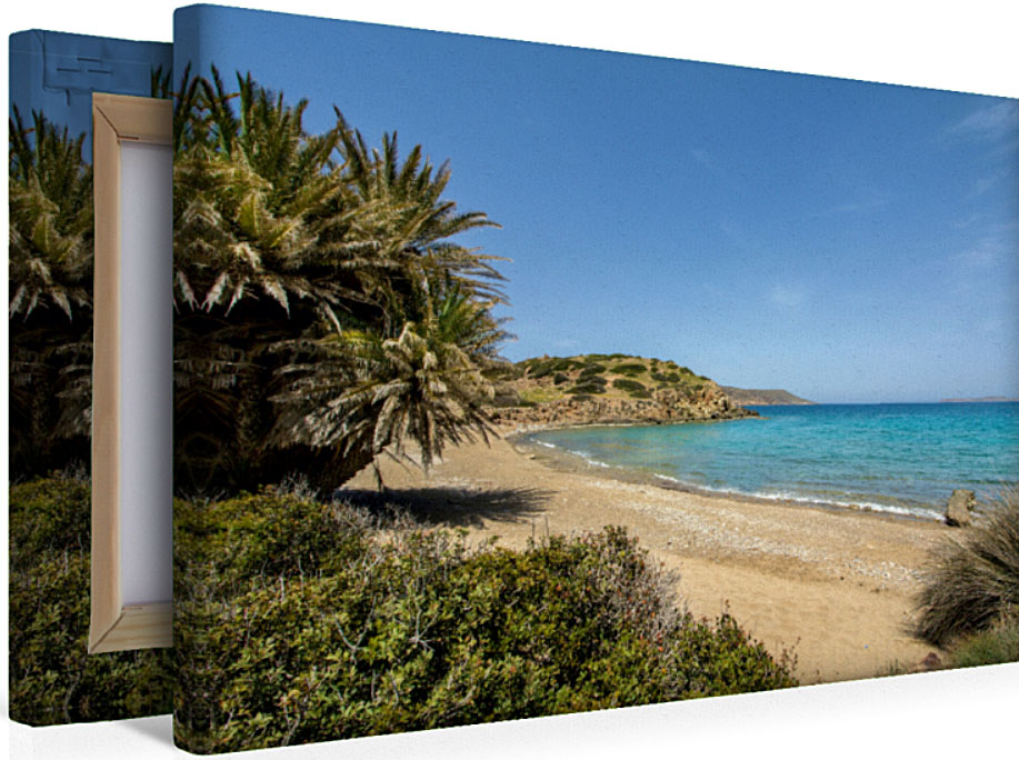 itanos_kreta_strand_palmen_leinwand_keilrahmen_poster - Die Premium Textil-Leinwand auf Keilrahmen aus unserem Fotokalender zeigt den fantastischen Palmenstrand von Itanos, bei Palekastro. Anbieten können wir die Leinwand in vier Formaten.