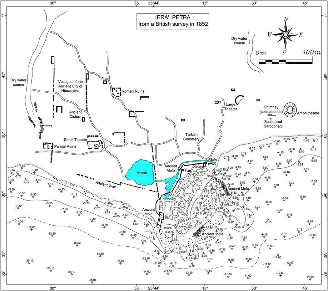 ierapetra_map_spratt Die Karte zeigt eine Übersicht der antiken Bauwerke in Ierapetra, diese wurde im Jahr 1852 vom britschen Geologen Thomas Spratt angefertigt. Karte: mediterranee.revues.org