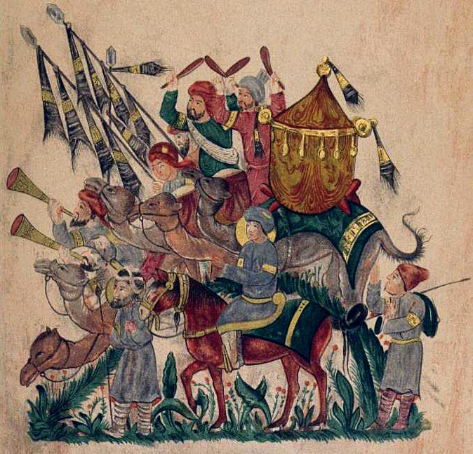 sarazenen_byzantinische_epoche - Sarazenische Soldaten, Musiker und Standartenträger auf Kamelen. Zeichnung: Gustave Léon Schlumberger, 1890. Foto: Wikipedia