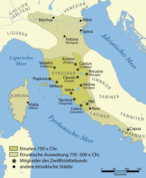 Etruscan_civilization_wikipedia Chumwa - Karte der etruskischen Gebiete mit den Städten des Zwölfstädtebunds. Grafik: Wikipedia, Chumwa