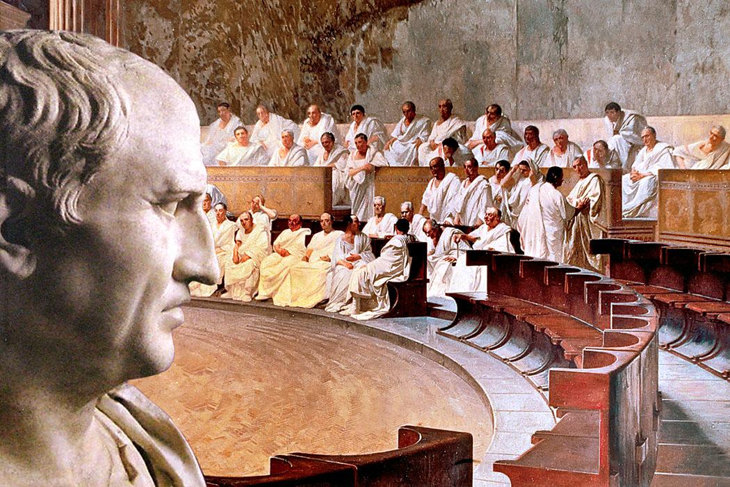 Cesare Maccari, 1840 bis 1919, Cicero klagt Catilinia an_01_ol - Die Szene zeigt den Anwalt Marcus Tullius Cicero vor dem römischen Senat. Foto: Wikipedia, Fresko von Cesare Maccari, 1889