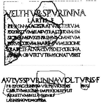 """Elogia Tarquiniensia - Die römische Inschrift """"Elogia Tarquiniensia"""" berichtet über die beiden großen etruskischen Anführer Velthur und Aulus Spurinna. Foto: Wikipedia"""