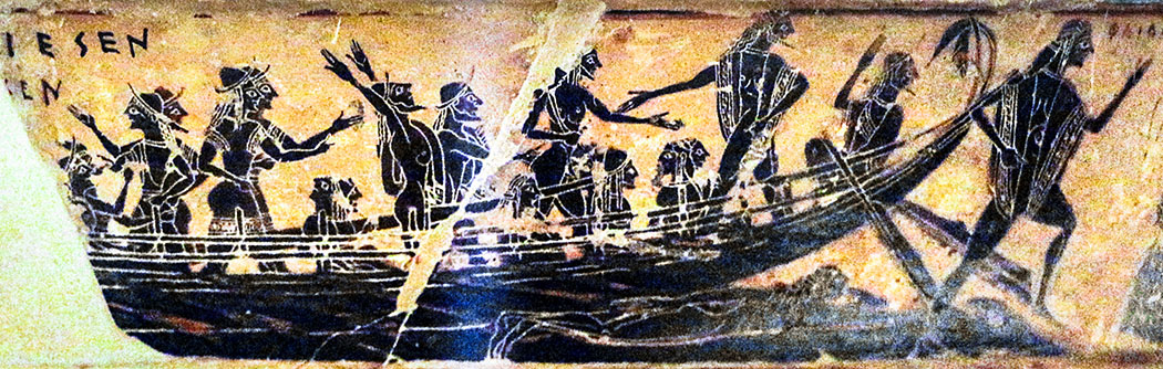 Françoisvase_Kleitias_Sailko-1 - Der Ausschnitt aus der berühmten Françoisvase (um 560 v. Chr.), die in einem Grab in Chiusi gefunden wurde, zeigt ein etruskisches Schiff. Das Fundstück ist heute im Museo Archaeologico in Florenz. Foto: Wikipedia, Sailko