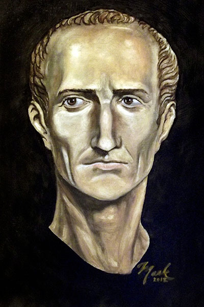 Portrait of Julius Caesar (oil on canvas). Based on bust of the ruler from the British Museum. From Mark James Miller - Portrait von Gaius Iulius Caesar nach einer Büste im British Museum. Zeichnung: Mark James Miller, Öl auf Canvas. Foto: Wikipedia