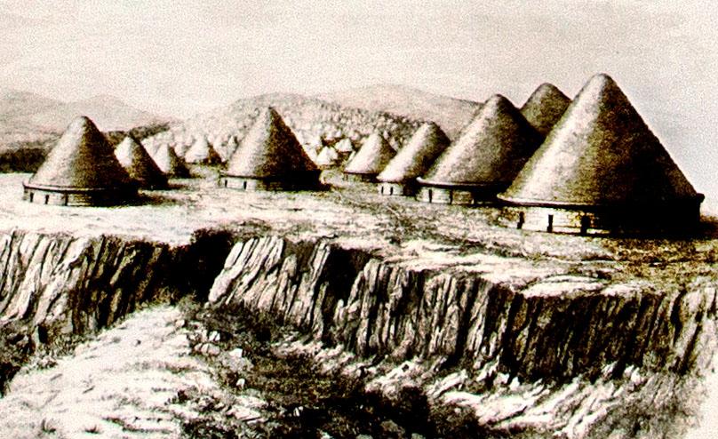 reise-zikaden.de, Italien, Latium, Tarquinia, Monterozzi Nekropole, Rekonstruktion - Die Rekonstruktion zeigt die Gräber der Monterozzi-Nekropole mit ihren ursprünglichen Tumuli.