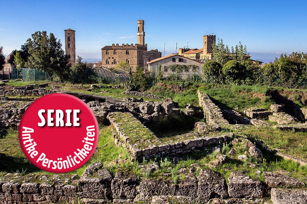 Volterra: Ausgrabungen der etruskische Akropolis mit Tempeln, Verwaltungsgebäuden.