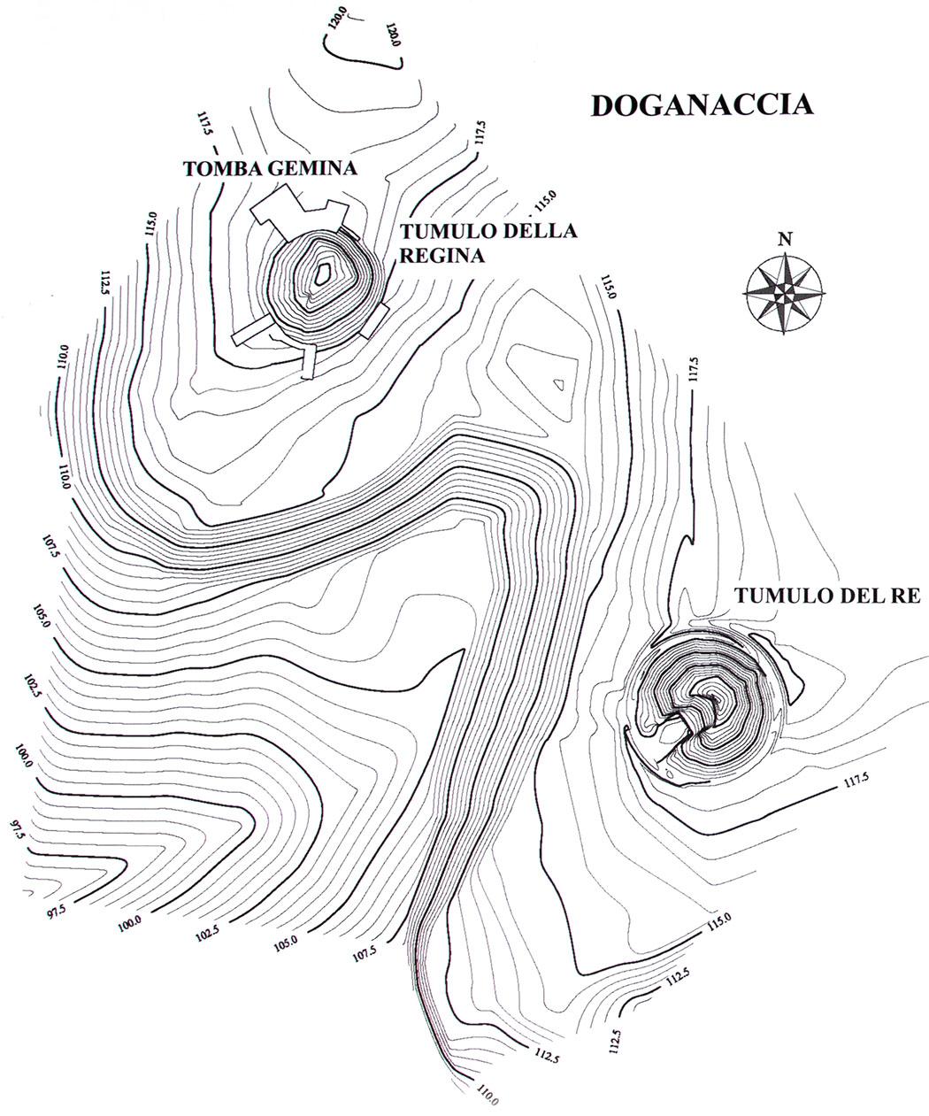 tarquinia, map, doganaccia - Die Karte zeigt die Lage der Grabhügel der Doganaccia-Nekropole von Tarquinia: Tomba Gemina, Tumuli della Regina und Tumuli del Re.
