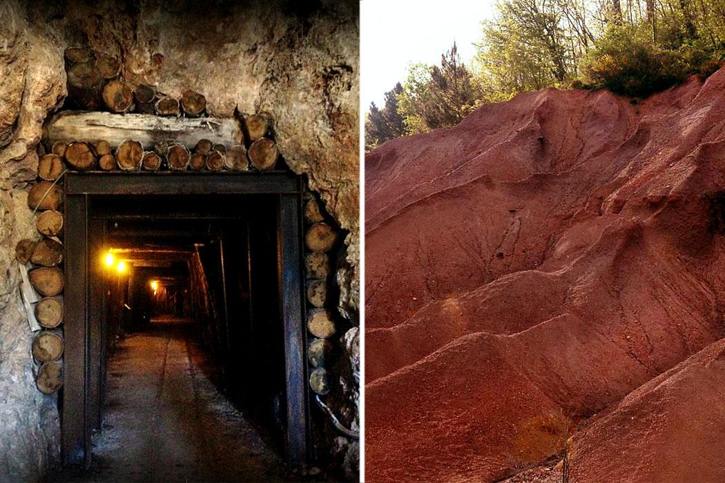 """bergwerk_kombi - Alter Stollen im Pyrit-Schaubergwerk von Gavorrano im Parco Minerario Naturalistico di Gavorrano (links). Die """"Le Roste"""" befinden sich bei der Gemeinde Montieri und sind Reste der einstigen Kupferverarbeitung."""
