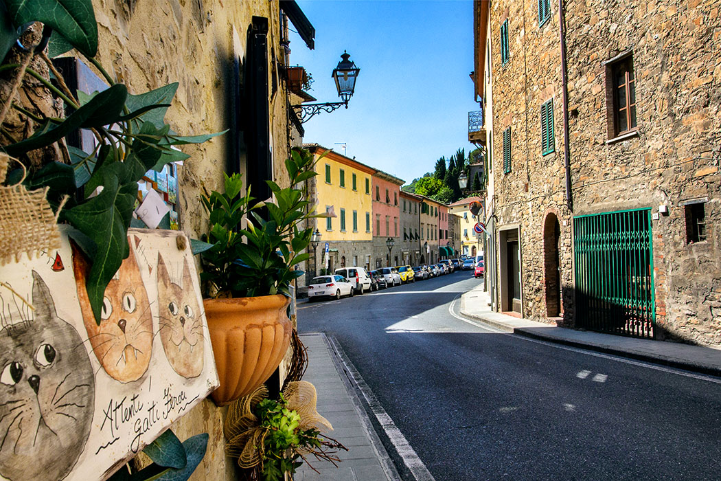 "Attenti! Gatti Feroci! An der Via Repubblica bewachen ""wilde"" Katzen einen Hauseingang."