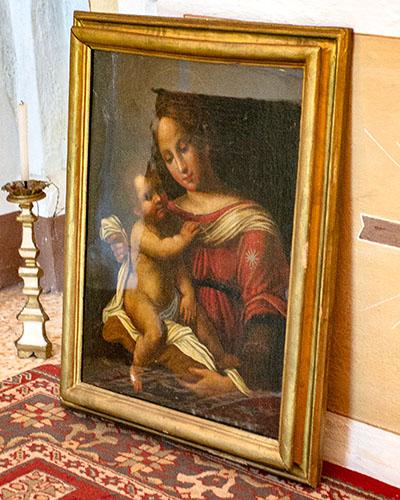 """reise-zikaden.de, italy, tuskany, toskana, monte metallifere, castelnuovo, oratorium, madonna del piano, painting - Das Ölgemälde """"Madonna del Piano"""" stammt von einem Florentiner Künstler und entstand in der zweiten Hälfte des 16. Jahrhundert."""