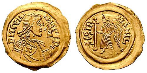 Cunincpert_tremissis - Diese spätantike Goldmünze (Tremissis) zeigt Cunincpert und wurde in Pavia geprägt. Er war der erste Langobardenkönig, dessen Abbild auf Münzen geprägt wurde.