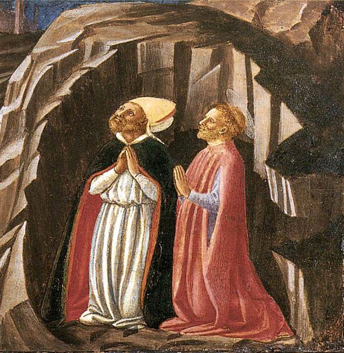 Justus_and_Clement_Prayingjpg - Giusto und Clemente beten in einer Höhle für die Befreiung von Volterra von der Belagerung durch die Vandalen. Gemälde um 1450. Foto: Wikipedia, Cat. 25