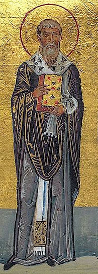 "Linus Menologion_of_Basil_II - Abbildung des Linus aus Volterra. Aus dem byzantinischen Manuskript ""Menologion Basileios' II"", 10. Jhd."