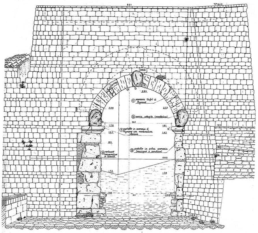 porta all'arco, zeichnung_ol - Die Studenten vom Projekt Quaderno del Laboratorio Universitario Volterra haben exakte Vermessungen und Schaubilder von der Porta all'Arco angefertigt. Zeichnung: C. Paoli