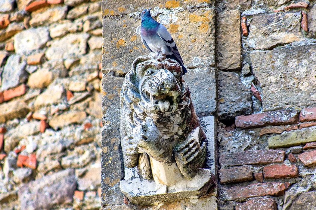 """Die Löwenköpfe an den Außenwänden von San Giusto Nuovo sind beliebte """"Sitzplätze"""" und stammen ebenfalls vom Vorgängerbau."""