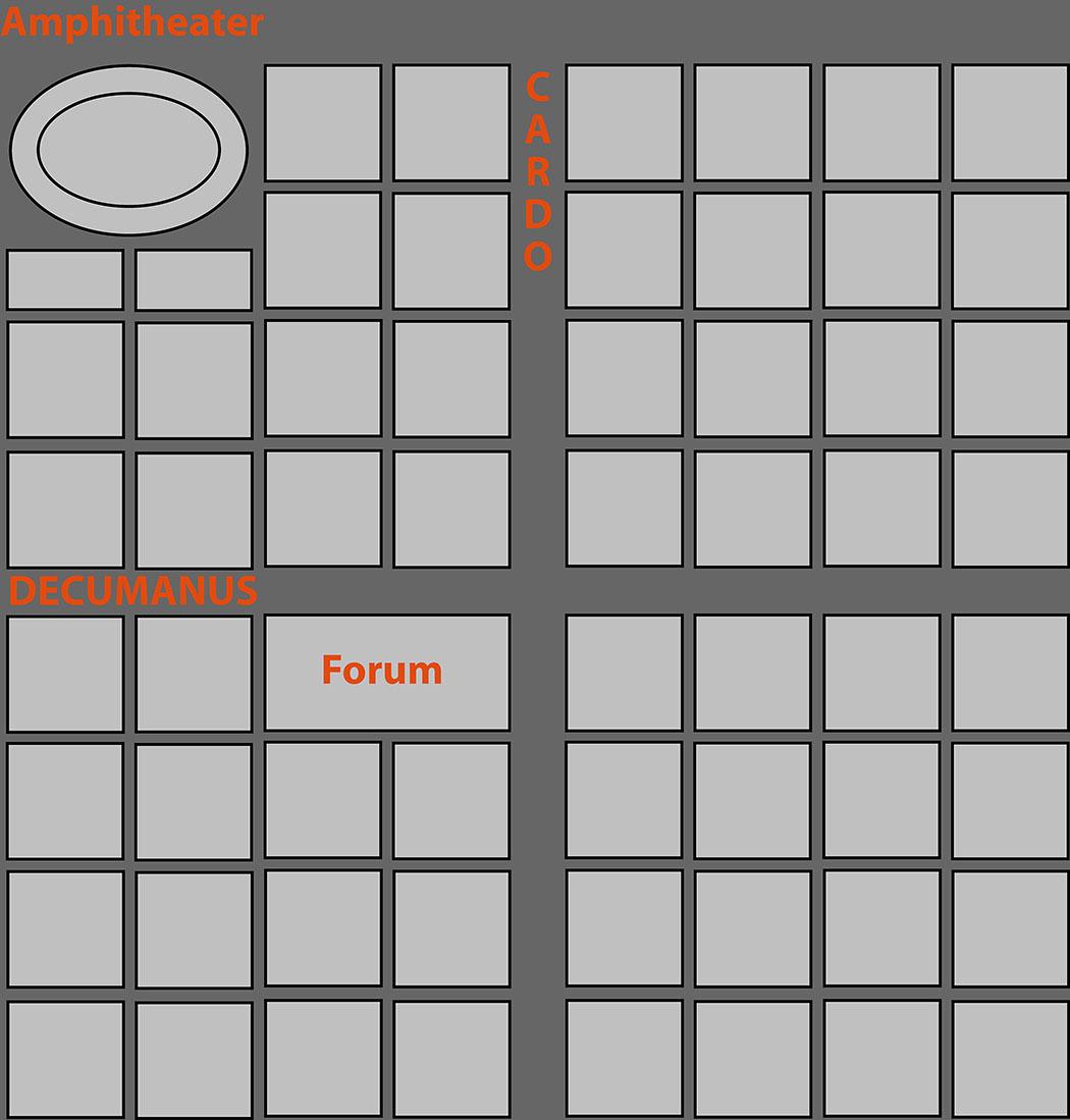 roman_city_decumanus_cardo_ol Die Grafik zeigt den typischen Aufbau einer römischen Stadt. In vielen Fällen ist der Cardo durch das Forum unterbrochen oder seitlich versetzt. In Volterra liegt das Forum am Cardo, Theather und Amphitheater im Norden der Stadt. Grafik: Wikipedia, Leo2004