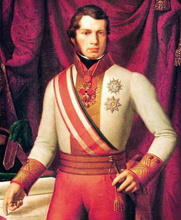 Leopold II. (1797 – 1870) Großherzog der Toskana kaufte die Funde aus der Nekopole Portone in Volterra. Gemälde von Pietro Benvenuto, 1828