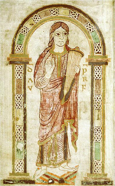 """Psalter von Montpellier_Tassilo-Psalter_David - Die Miniatur stammt aus dem """"Psalter von Montpellier"""" und zeigt König David unter Rundbogenarkaden mit Flechtwerk. Das Werk entstand vor 788 und entstand im bajuwarischen Kloster Mondsee das von Herzog Tassilo III. gegründet hatte. Offenbar war der Psalter für Tassilo III. und seine Familie bestimmt."""