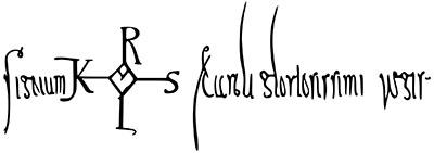 """karl der große_faksimile_ol - Das Signum von Karl des Großen unter einer 790 ausgefertigten Urkunde lautet: """"Signum Karolus Caroli gloriosissimi regis"""""""