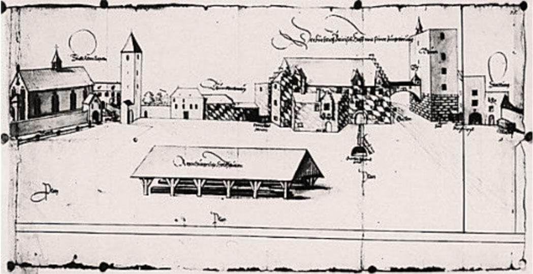 pfalz am alten kornmarkt, regensburg, 1572 Die Zeichnung von 1572 zeigt die Pfalz am Alten Kornmarkt. Links steht die Alte Kapelle, in der Mitte die Pfalzgebäude, rechts der Römerturm. Die Federzeichnung befindet sich im Bayerischen Hauptstaatsarchiv München. Quelle: Regensburg – Kleine Stadtgeschichte, Matthias Freitag.