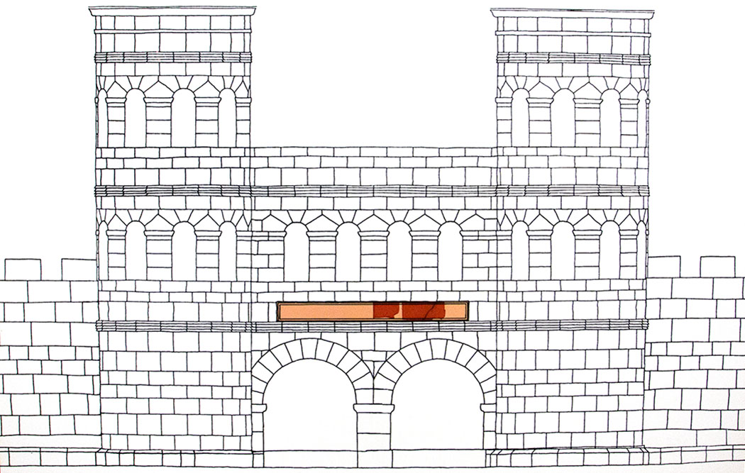 reise-zikaden.de, oberpfalz, regensburg, bayern, donau, bauinschrift castra regina, historisches museum, antike, roemer-02- Die Zeichnung zeigt eine Rekonstruktion der Porta Pricipalis Dextra mit der Lage der Bauinschrift des römischen Legionslagers.