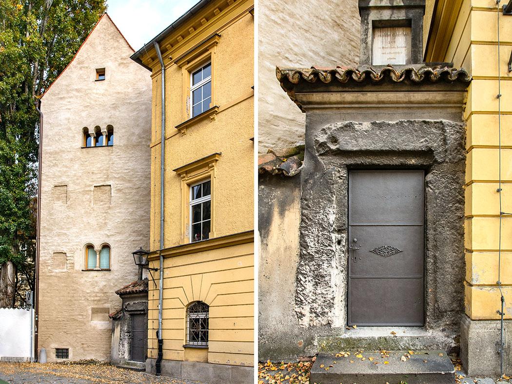 roemischer tuersturz regensburg kombi - Neben einem romanischen Turmhaus, in der Salzburger Gasse in Regensburg, ist am Seminargebäude des Kollegiatstiftes zur Alten Kapelle ein römischer Türsturz aus der Spätantike zu sehen.