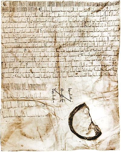 """Augsburger_schied-ol Der """"Augsburger Schied"""" ist eine am 14. Juni 1158 abgefasste Urkunde die Kaiser Friedrich I. Barbarossa am Reichstag von Augsburg ausstellte. Foto: Wikipedia"""