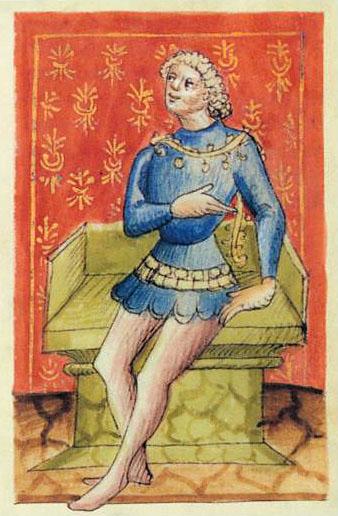 """Porträt_Kaiser_Arnolf_von_kärnten Kaiser Arnulf von Kärnten (850 – 899) aus der Dynastie der Karolinger. Zeichnung aus """"Liber Augustalis"""" von Benvenuto de Rambaldis, um 1387. Foto: Wikipedia"""