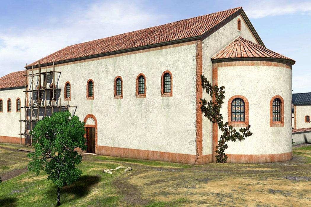 aula regia ingelheim-ol Die Aula Regia (Thronsaal) in der Kaiserpfalz von Ingelheim ist in ihrer Grundfläche mit der Königspfalz von St. Emmeram in Regensburg fast identisch. 3D-Rekonstruktion: Archimedix GbR, H. Grewe