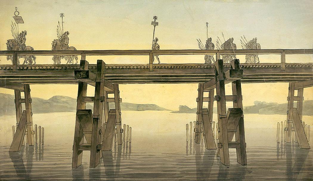 caesar_bruecke_rhein_roemer-ol Jochbrücken gehören zu den ältesten Bauformen von Brücken. Beispielsweise ließ Julius Caesar in zehn Tagen bei Bonn eine vierhundert Meter lange Jochbrücke über den Rhein errichten. Zeichnung: John Soane, 1814. Foto: Wikipedia