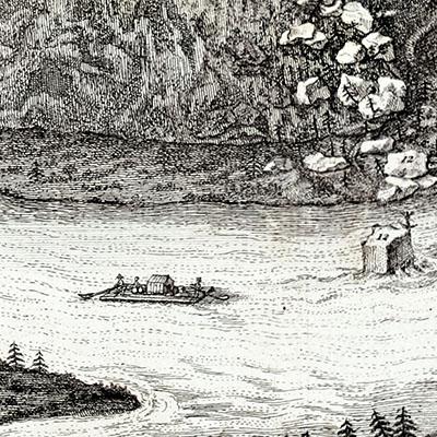 floesserei_Roemerschanze-Georgenstein_1764 - Die Zeichnung aus dem 18. Jhd. zeigt ein Floß auf der Isar beim Georgenstein in Grünwald. Foto: Wikipedia