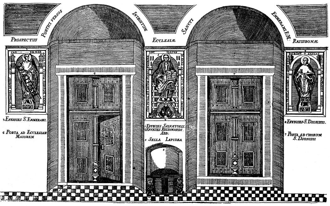 """nischenportal st. emmeram regensburg_ol - So sah der Zugang in die Basilika St. Emmeram in Regensburg bis ins 19. Jhd. aus. Unter der Christusfigur stand bis 1894 der Steinthron, auch """"Heinrichsstuhl"""" genannt."""