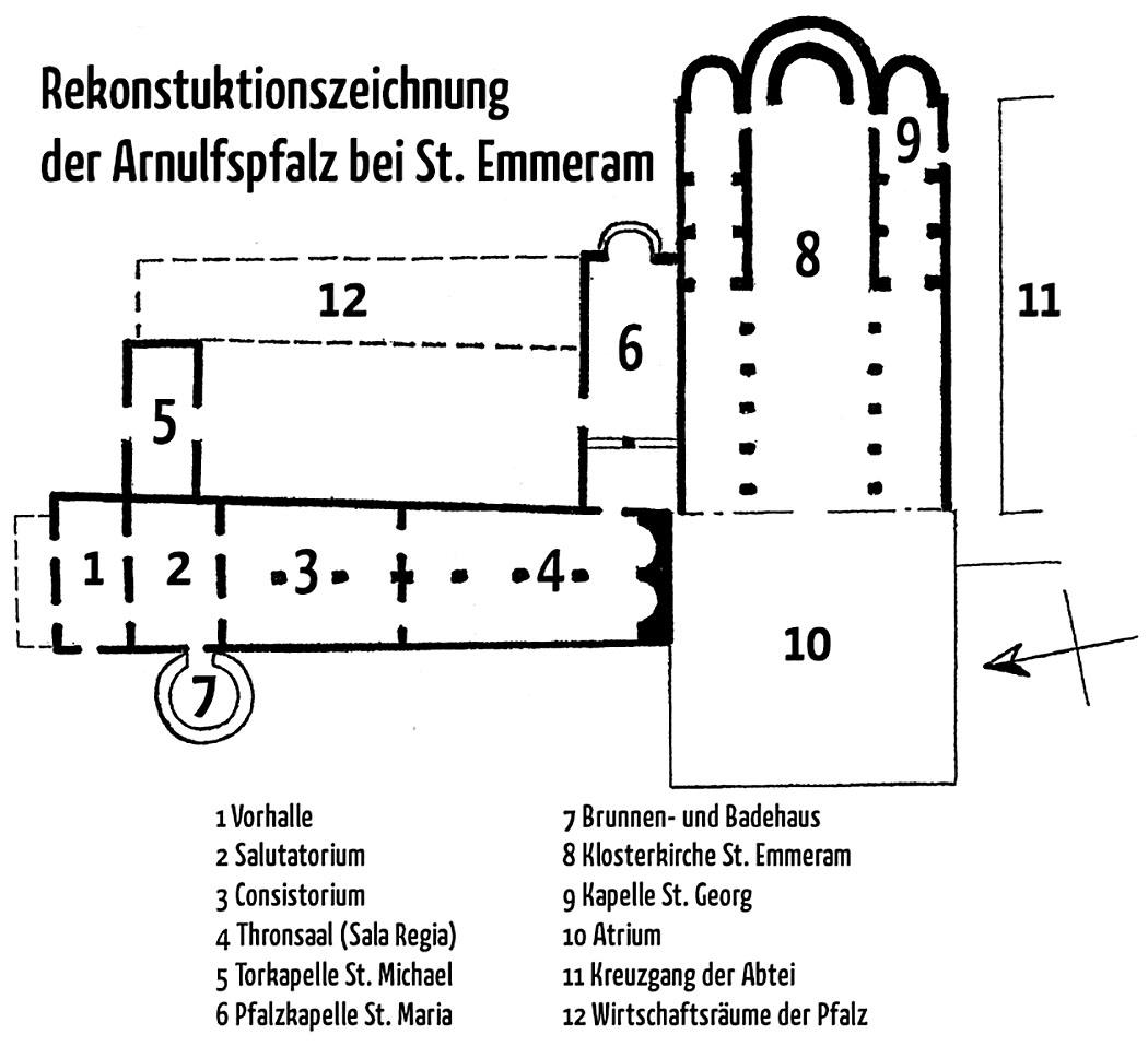 rekonstruktion regensburg arnulfspfalz bei st. emmeram- Grundriss-Rekonstruktion der Arnulfspfalz bei St. Emmeram in Regensburg. Quelle: Klaus Gamber, Die Pfalz Kaiser Arnulfs in Regensburg und ihr künstlerischer Schmuck. Zeichnung: Robert E. Dechant.