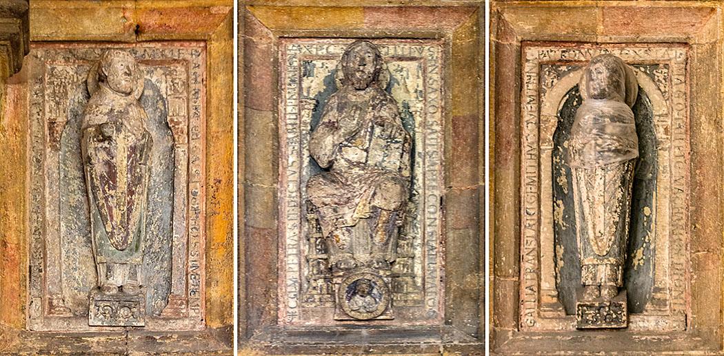 st emmeram regensburg skulpturen vorhalle Die Skulpturen in der Vorhalle zur Basilika von St. Emmeram in Regensburg zeigen den Hl. Emmeram, Christus Salvator und den Hl. Dionysius (v. l. n. r.) könnten aus der karolingischen Königspfalz stammen.