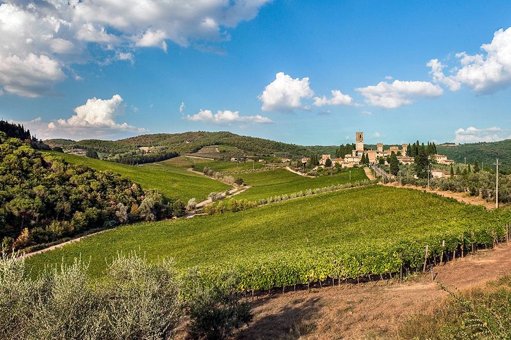 Chianti_Badia a Passignanojpg Chianti: Im Weiler Badia a Passignano, in typisch toskanischer Landschaft, befindet sich die Abbazia di San Michele Arcangelo. Ihre Ursprünge gehen auf das 9. Jhd. zurück, ein Kloster entstand im 11. Jhd. Foto: Wikipedia, Vignaccia76