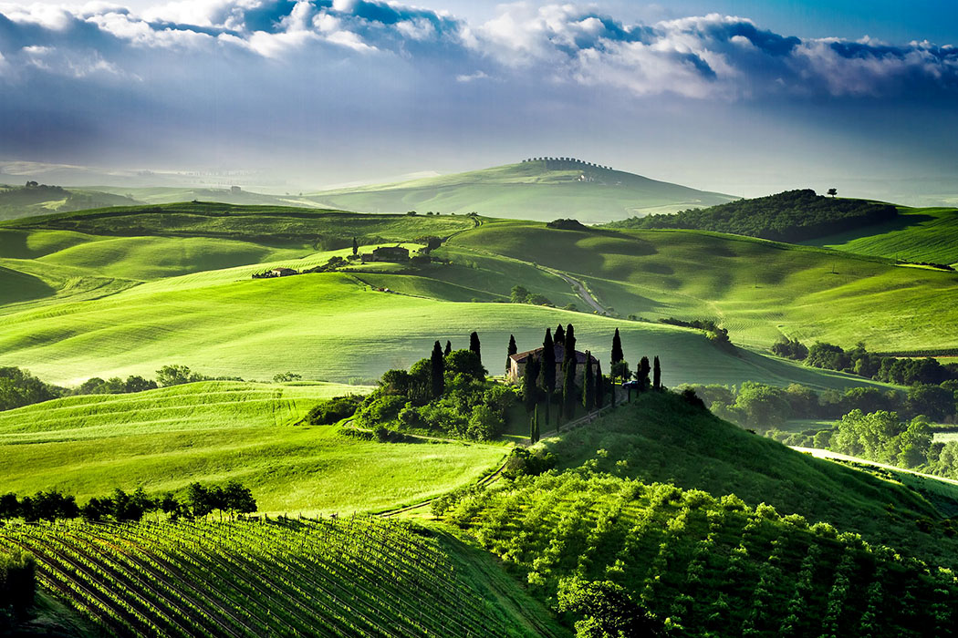 San Quirico d'Orcia, Toscana, Italien, Val d'Orcia Bezaubernde Toskana: Großartiges Landschaftspanorama während des Sonnenaufgangs im Orcia-Tal bei San Quirico d Orcia.