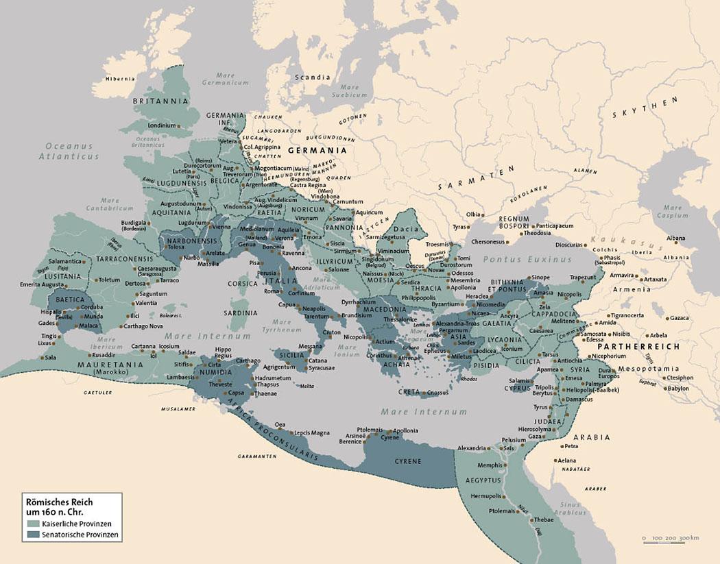 Map - Die Karte zeigt das römische Reich um 160 n. Chr. Quelle: C. H. Beck Verlag